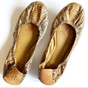 Tory Burch Eddie Python Snakeskin Ballet Flats